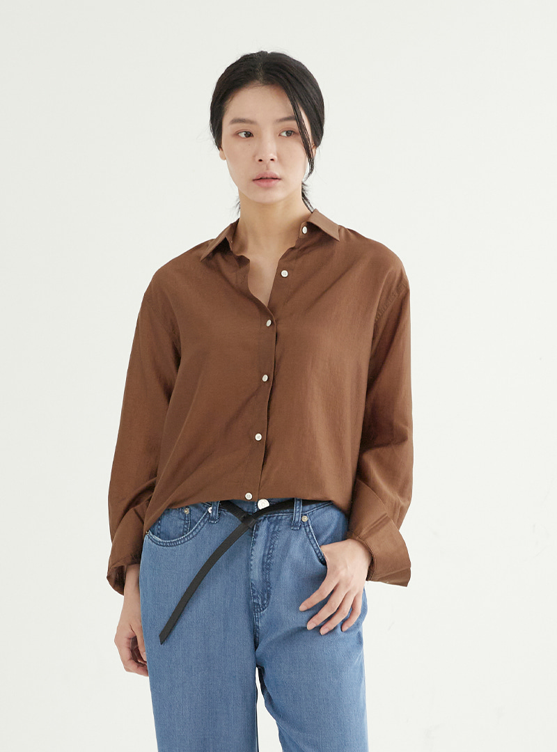 Tencel Box Shirt Brown