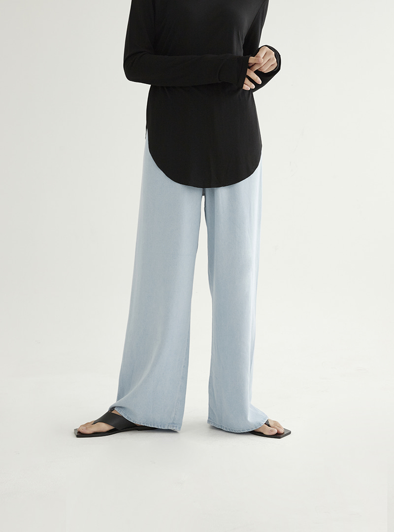 Lyocell Banding Pants Skyblue